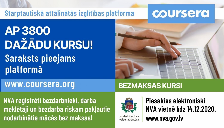 """NVA aicina pieteikties bezmaksas mācībām attālinātās izglītības platformā """"Coursera"""""""
