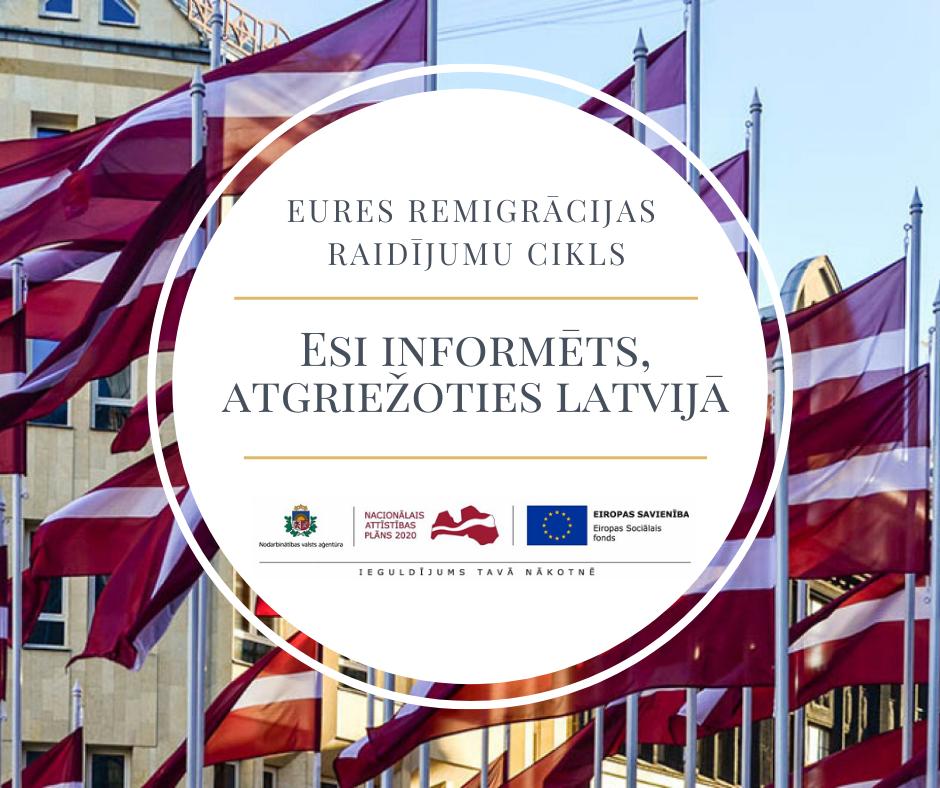 """NVA EURES veidos tiešsaistes raidījumu ciklu remigrācijas atbalstam """"Esi informēts, atgriežoties Latvijā"""""""