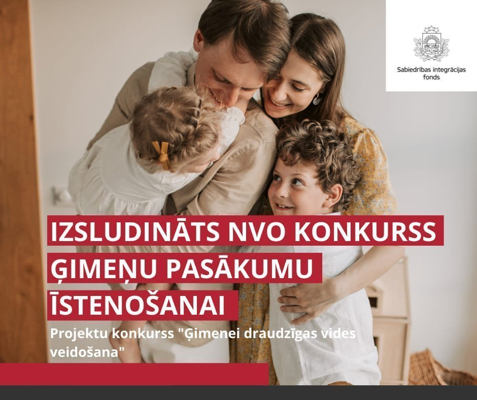 Izsludināts NVO projektu pieteikumu konkurss ģimenes pasākumu atbalstam 170000 EUR vērtībā