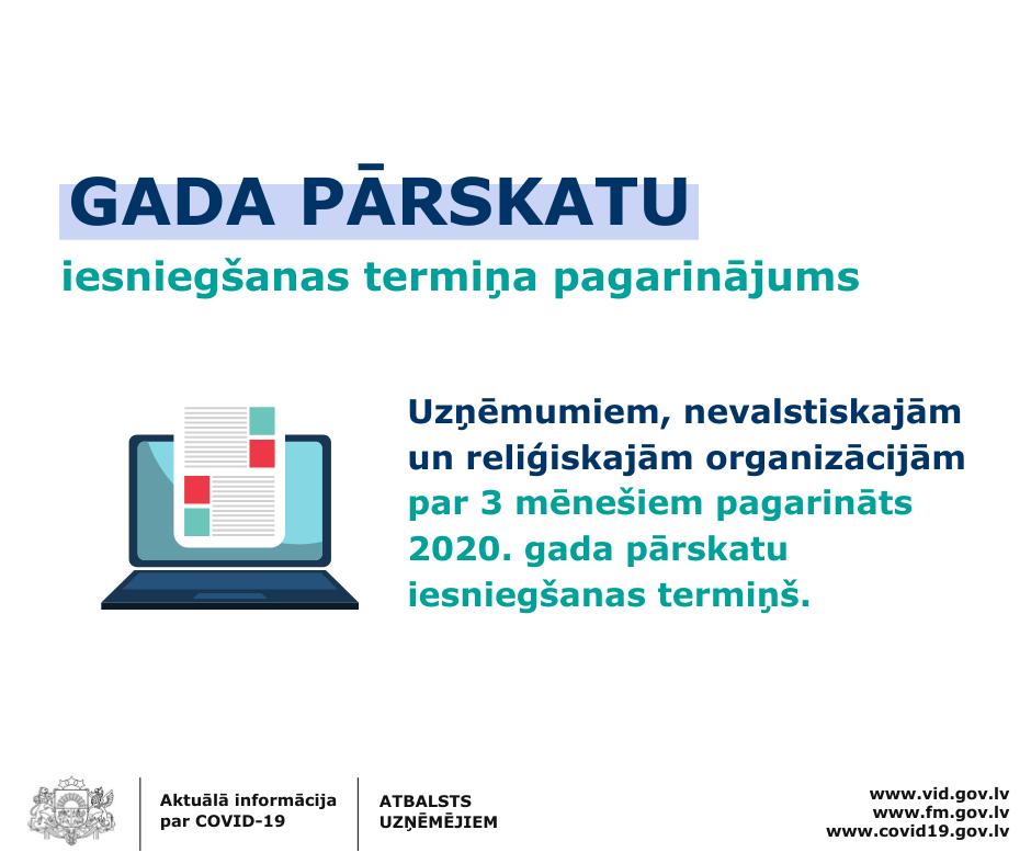 Pagarināts termiņš gada pārskatu par 2020. gadu iesniegšanai