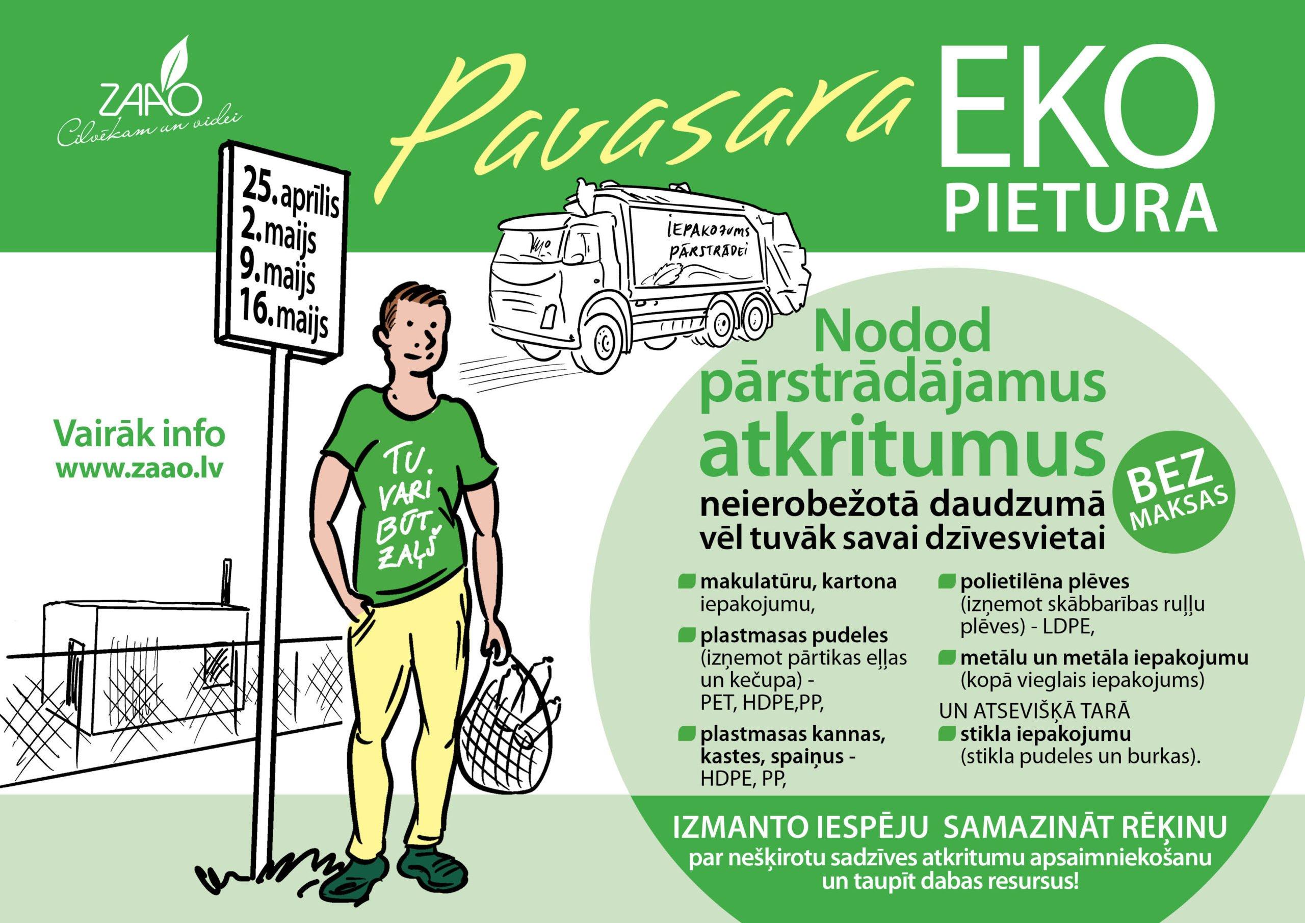 """Jau 25. aprīlī novadniekiem būs iespēja piedalīties akcijā """"Pavasara EKO pietura"""""""