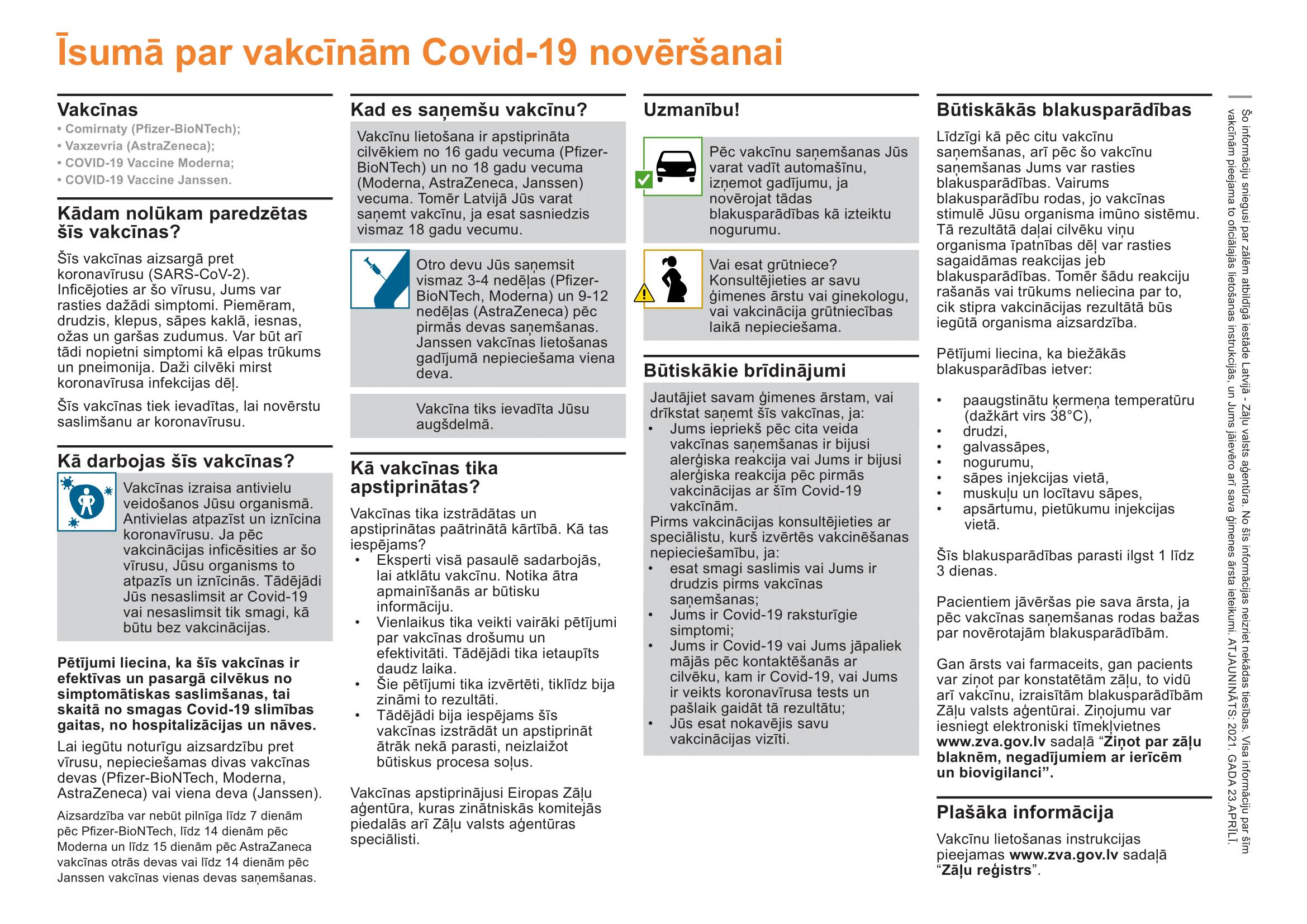 Informatīvs materiāls par vakcīnām pret Covid-19: uzzini par vakcīnu izstrādi, darbību, intervālu starp devām un biežākajām blakusparādībām