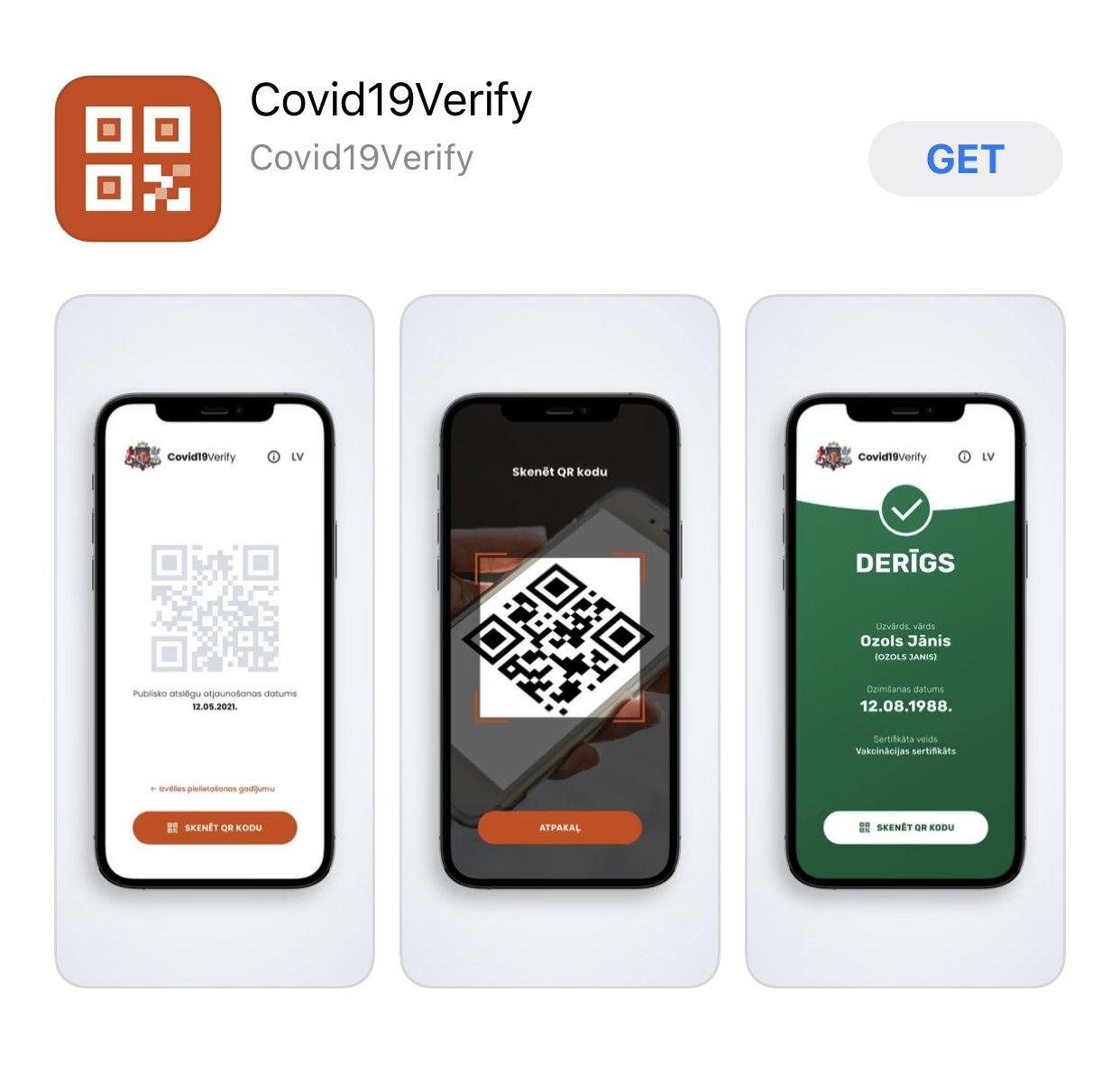 Pieejama mobilā aplikācija digitālo Covid-19 sertifikātu pārbaudei