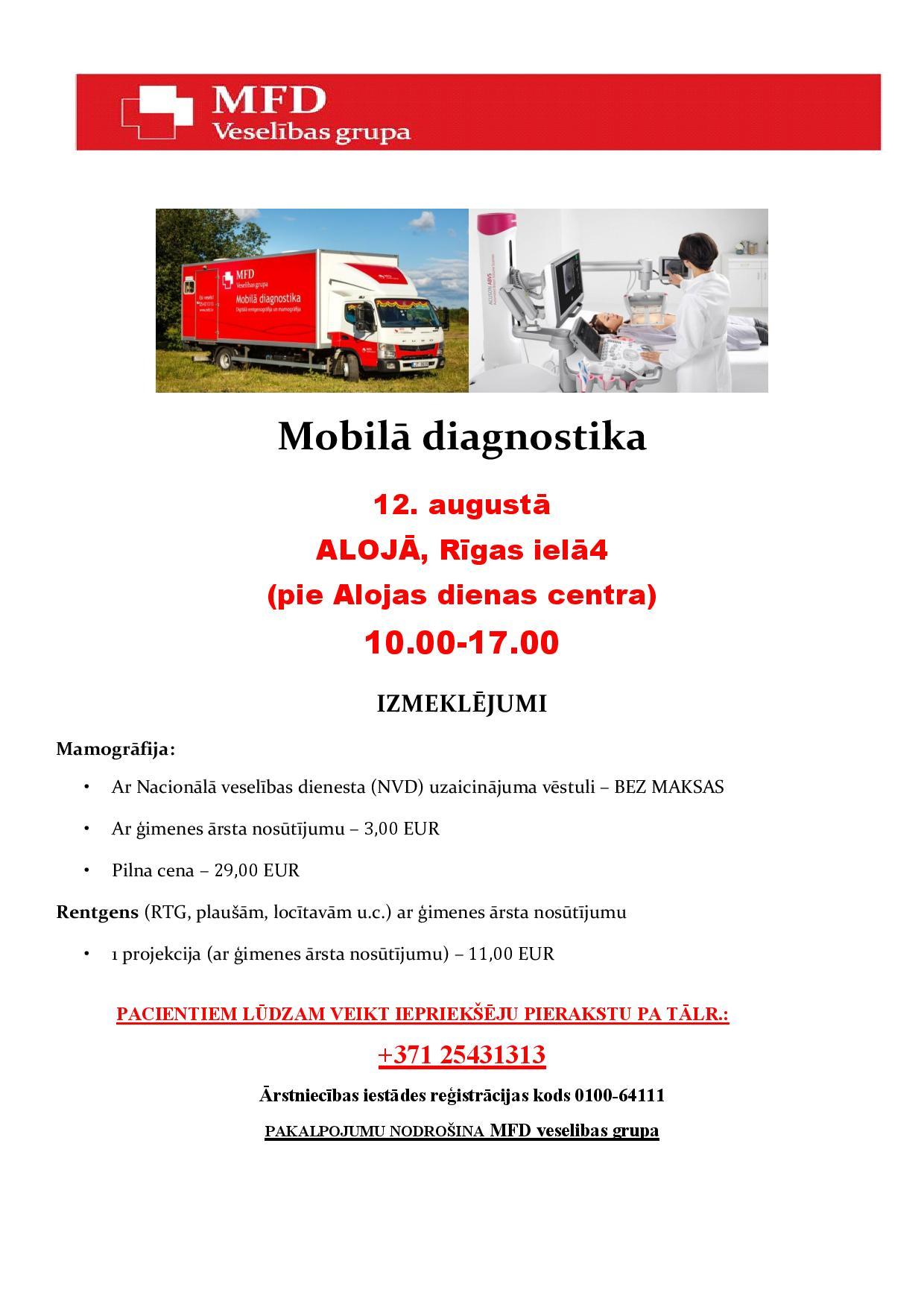 Mobilā diagnostika Alojā augustā