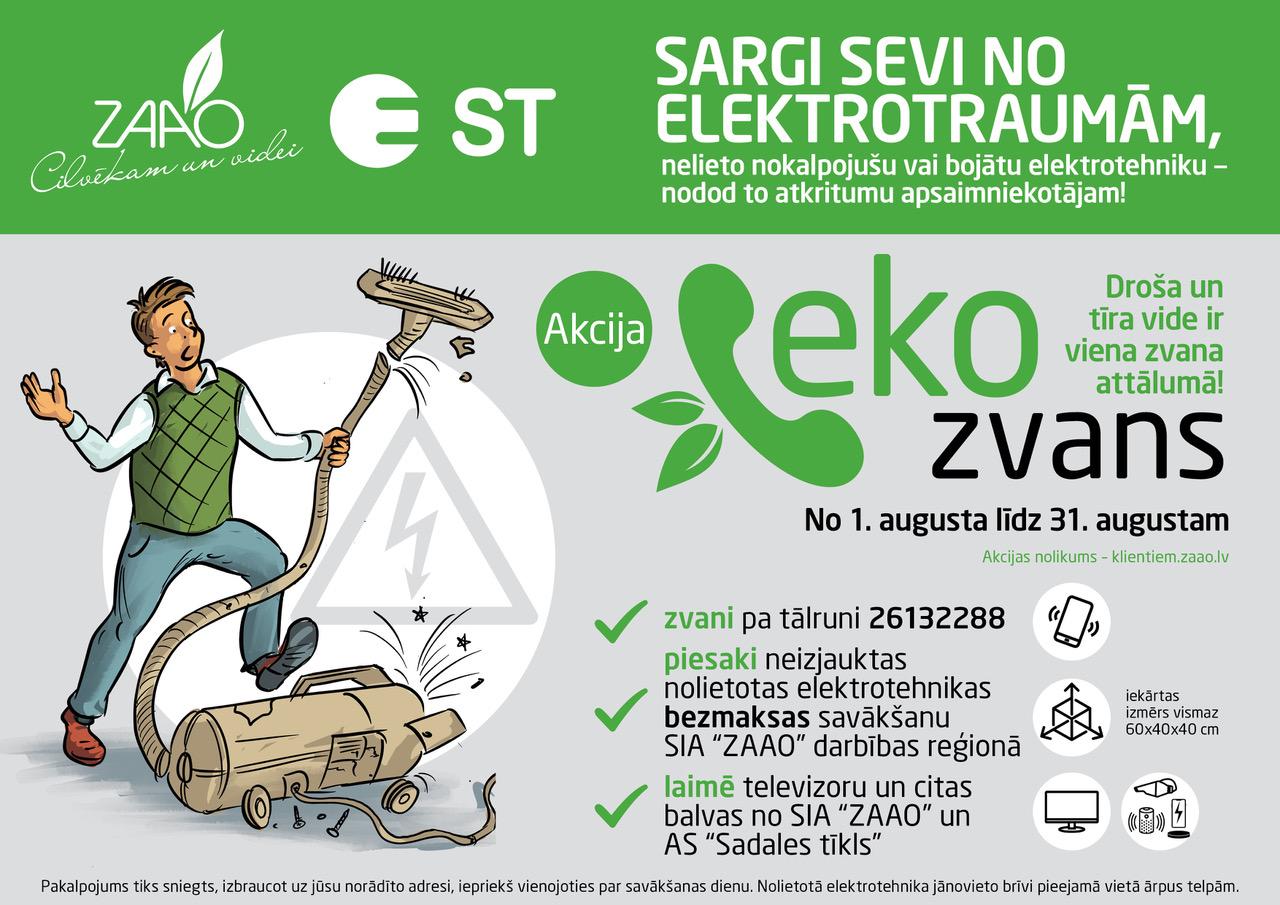 """Akcijā """"EKO ZVANS"""" aicina bez maksas nodot nolietotu elektrotehniku, vērš uzmanību uz elektrodrošību"""