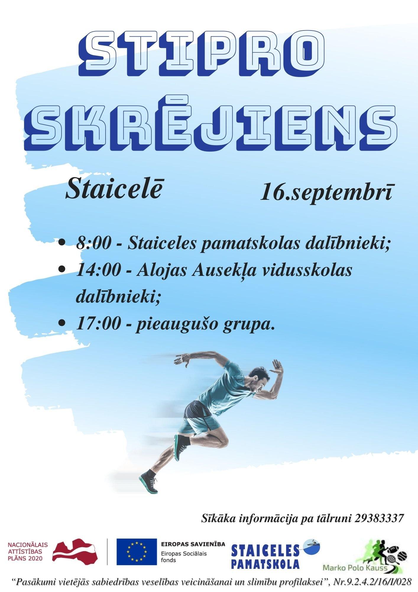 16. septembrī notiks Stipro skrējiens