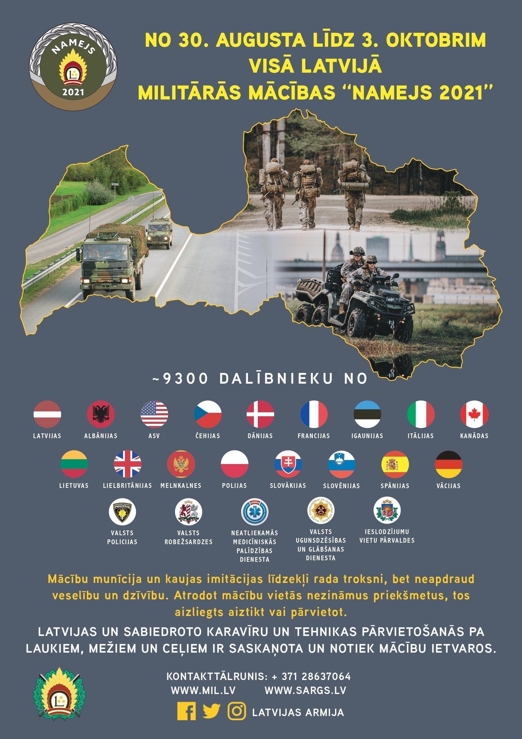 """Visā Latvijā notiks Nacionālo bruņoto spēku militārās mācības """"Namejs 2021"""""""