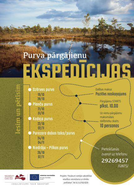 No 19. oktobra līdz 7. novembrim dodies BEZMAKSAS Purva pārgājienu ekspedīcijās