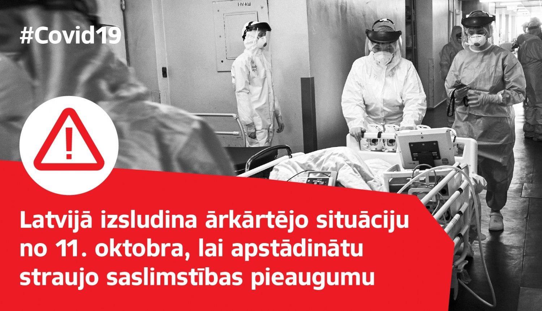No 11. oktobra uz trim mēnešiem Latvijā izsludina ārkārtējo situāciju